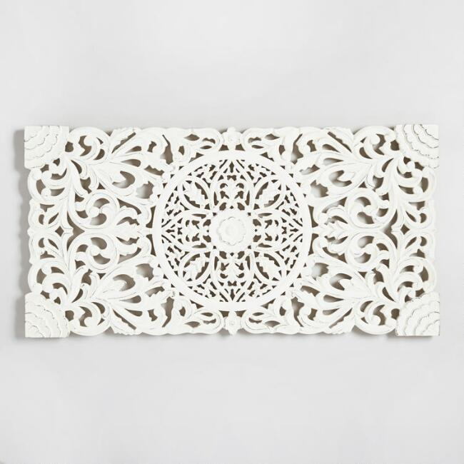 Ivory Wood Floral Wall Panel
