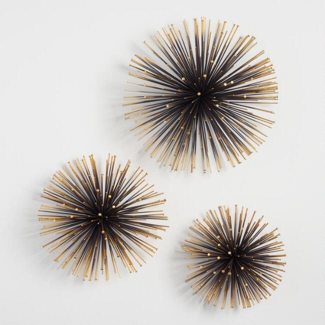Gold Sea Urchin Wall Decor Set Of 3