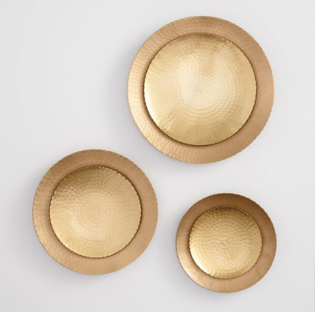 Hammered Gold Disc Wall Decor Set of 3
