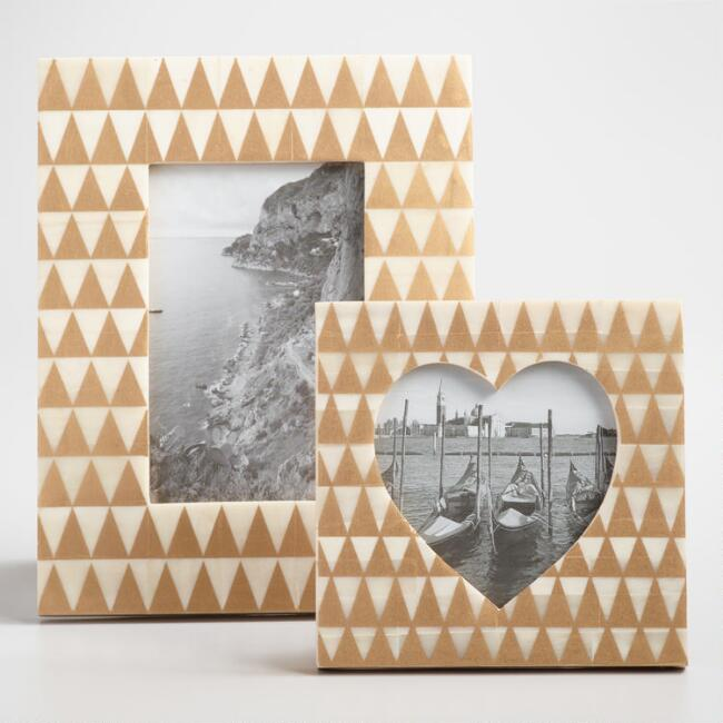 Gold Triangles Bone Tabletop Frames