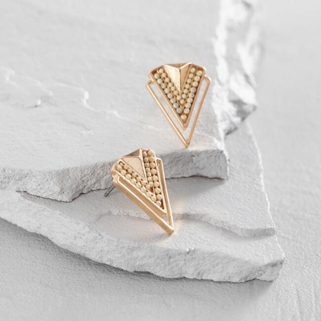 Ivory and Gold Chevron Stud Earrings