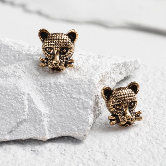 Gold Panther Stud Earrings
