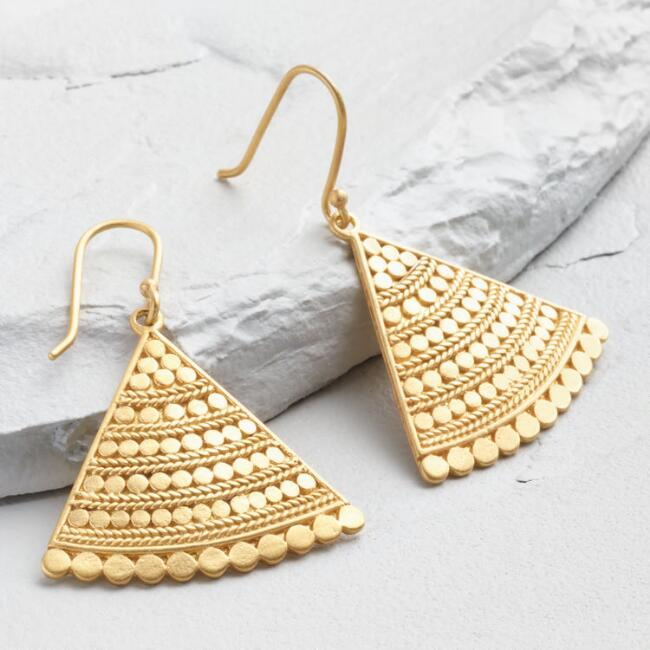 Gold Fan Drop Earrings