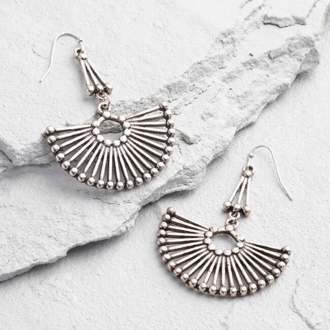 Silver Fan Statement Drop Earrings