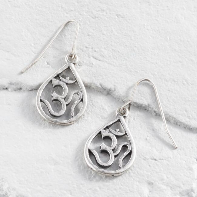 Silver Om Drop Earrings