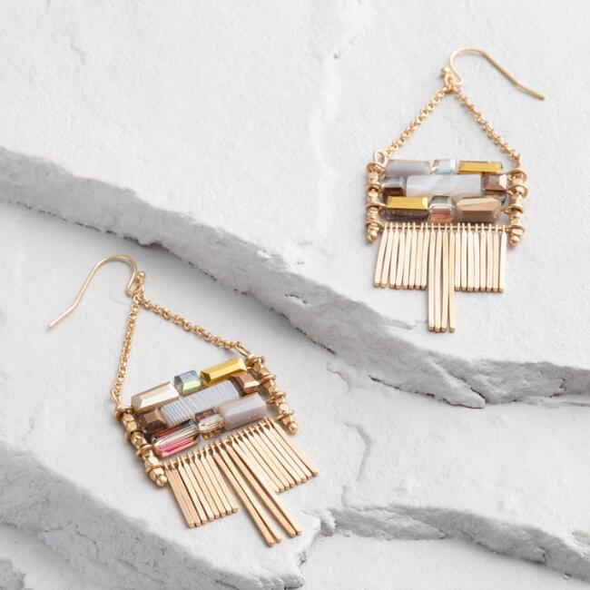 Gold Fringe and Bead Statement Earrings