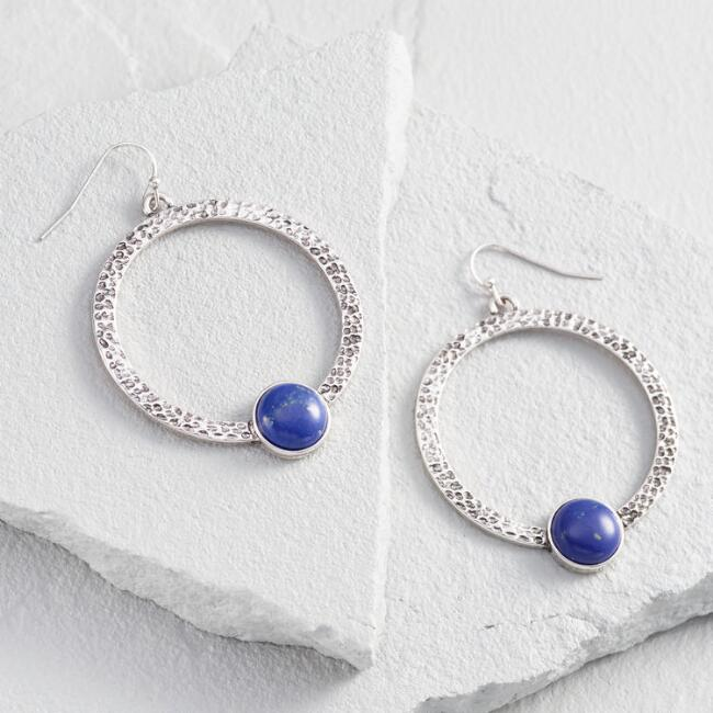 Lapis and Silver Hoop Earrings