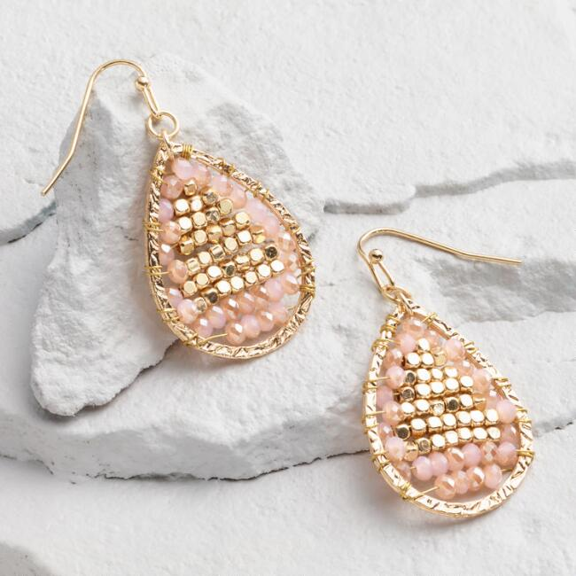 Champagne and Gold Bead Teardrop Earrings