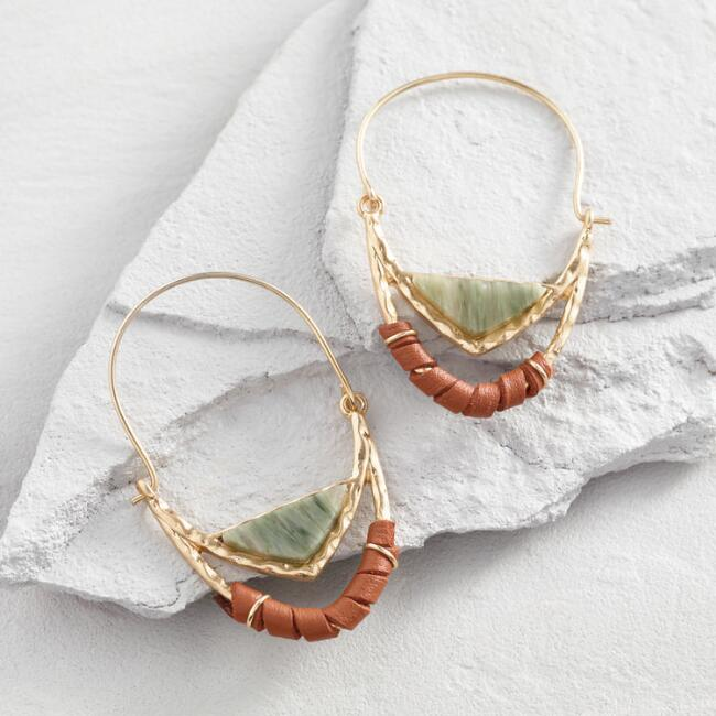 Agate and Leather Wrap Hoop Earrings