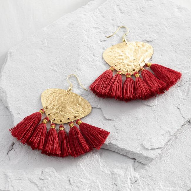 Gold And Red Tel Earrings