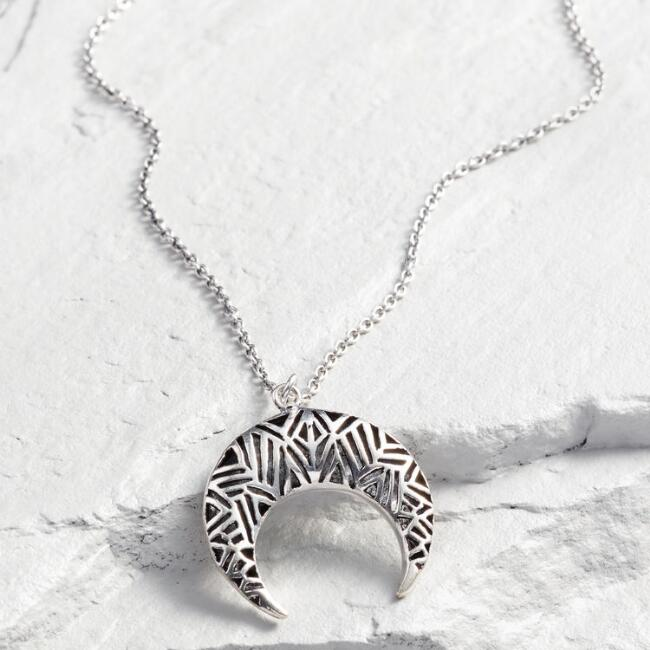 Silver Etched Crescent Pendant Necklace