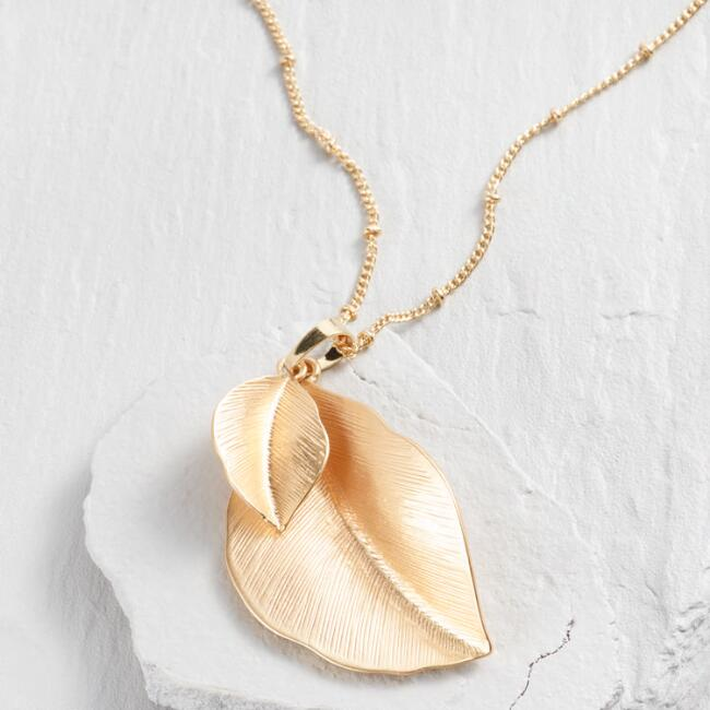 Gold Double Leaf Pendant Necklace
