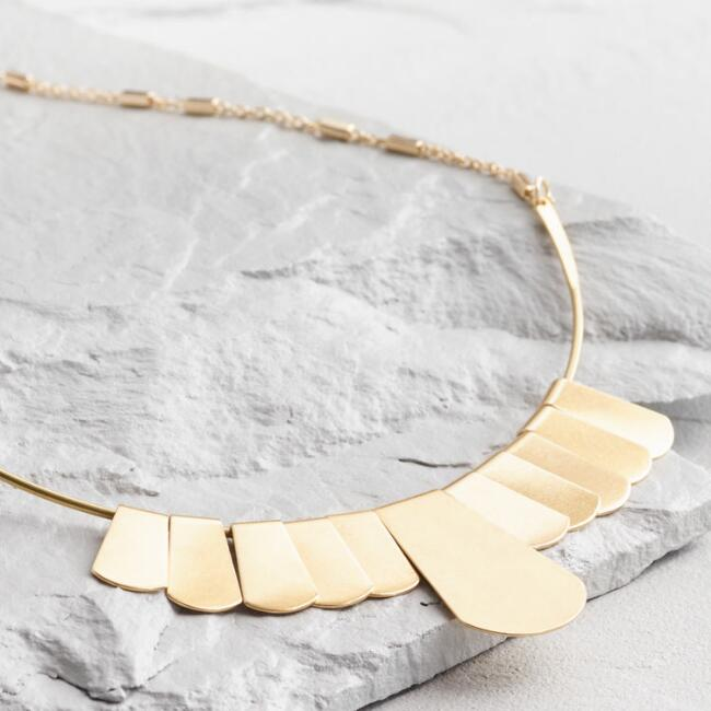 Gold Fan Collar Necklace