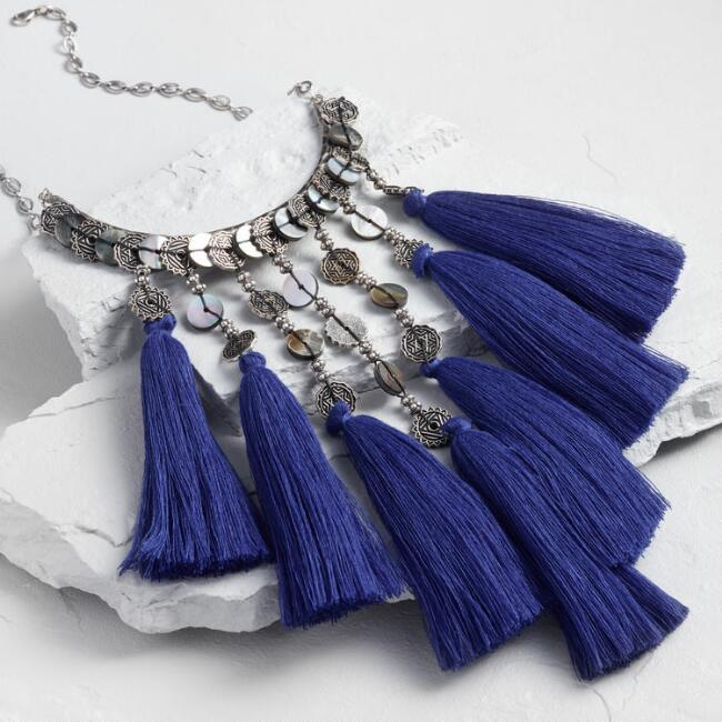 Silver and Blue Tassel Statement Necklace