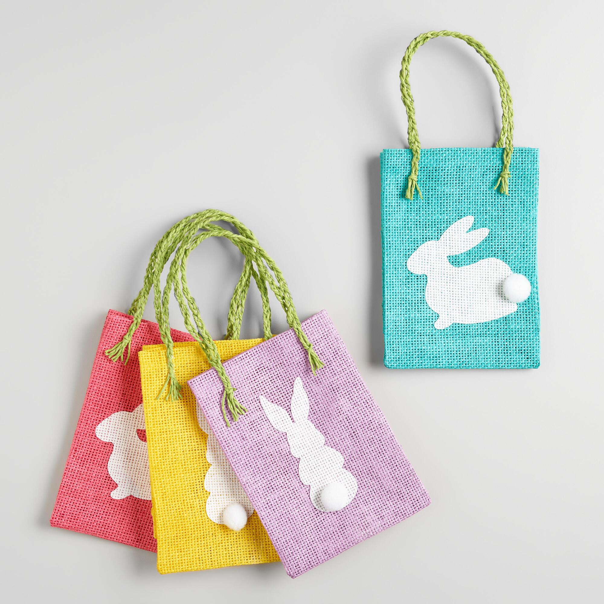 Woven Bunny Easter Gift  Bags Set of 4 by World Market