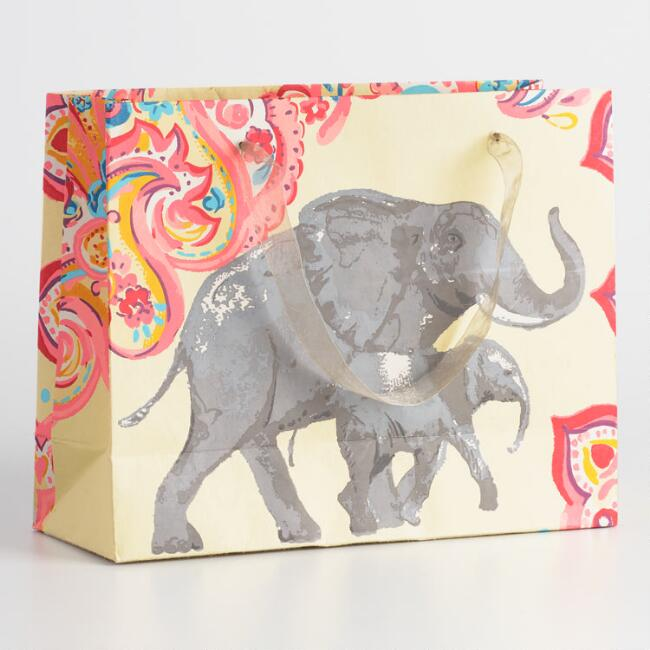 Large Elephant Handmade Paper Gift Bags Set of 2