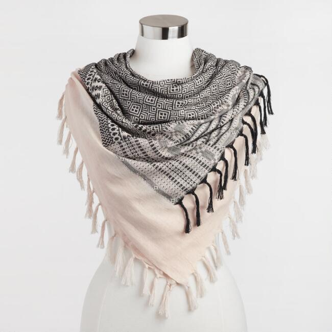 Square Pink and Black Jacquard Scarf