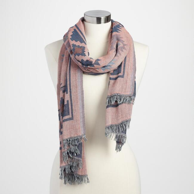 Pink and Blue Geometric Scarf