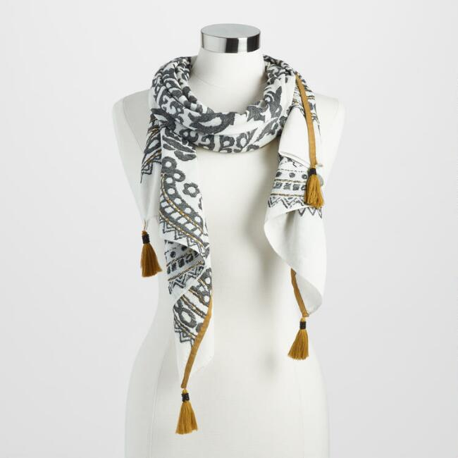 Black and White Applique Scarf