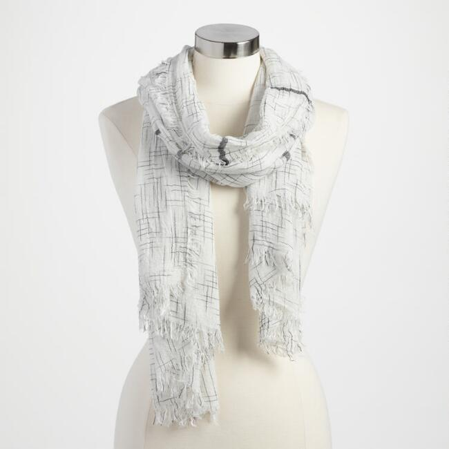 Black and White Cross Stitch Scarf