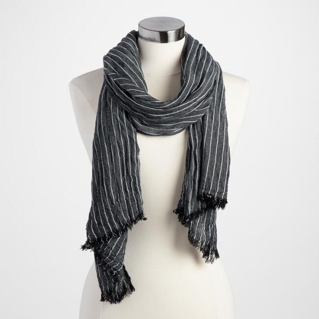 Black and White Stripe Scarf
