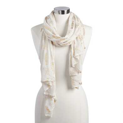White and Gold Foil Prayer Shawl