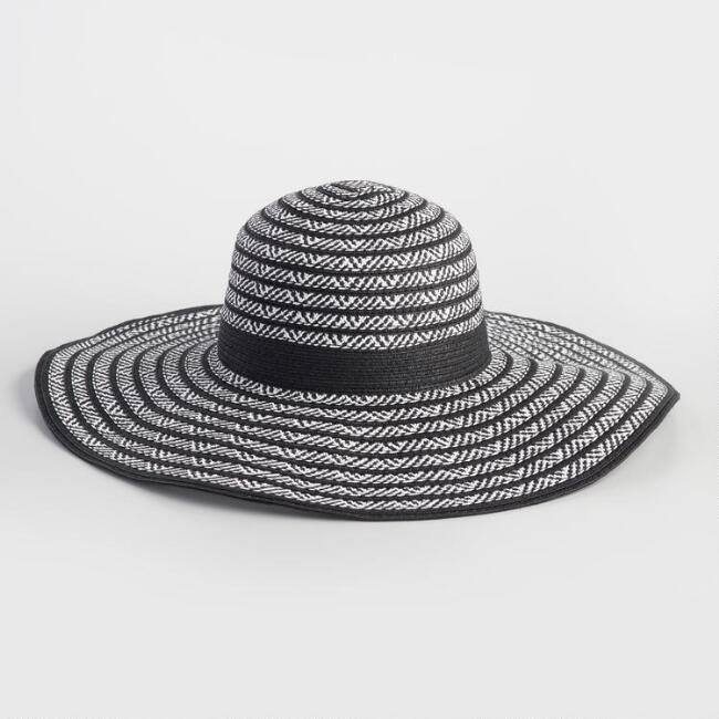 Black and White Woven Sun Hat