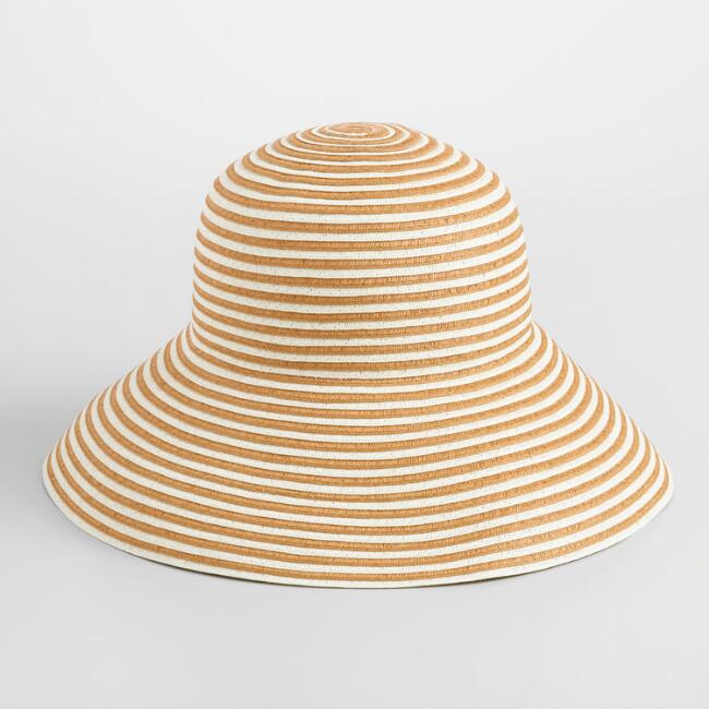Dark Beige and White Stripe Bucket Hat