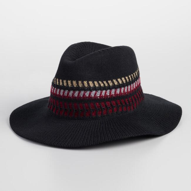 Black Crochet Rancher Hat with Multicolor Band