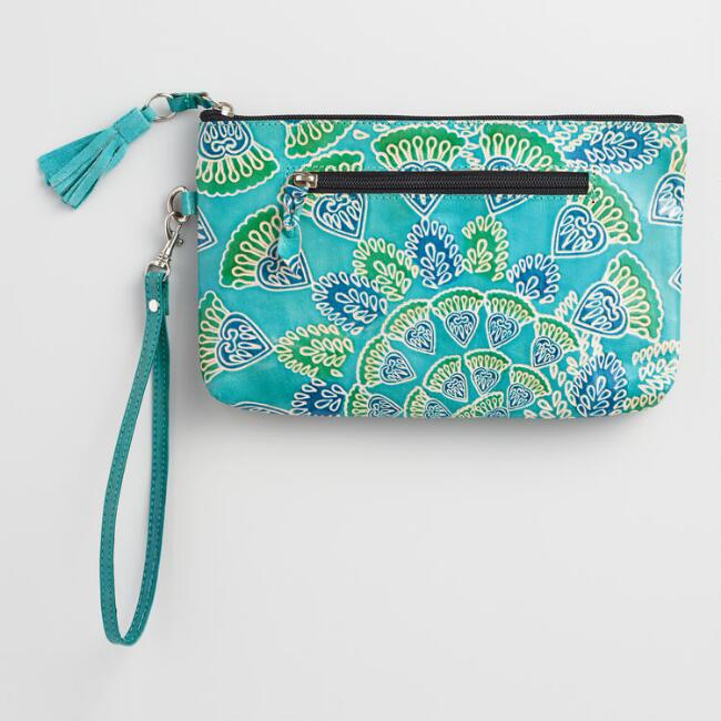 Peacock Leather Clutch