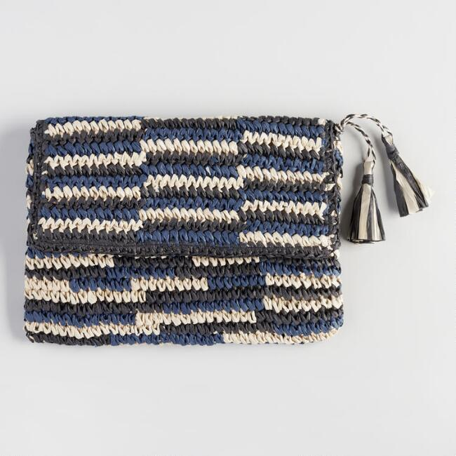 Navy and Black Straw Clutch