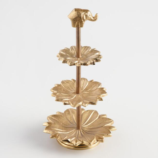 Gold Lotus Three-Tiered Jewelry Stand