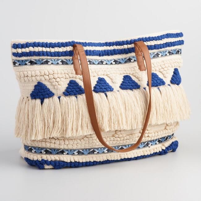 Blue and Cream Textured Tote Bag