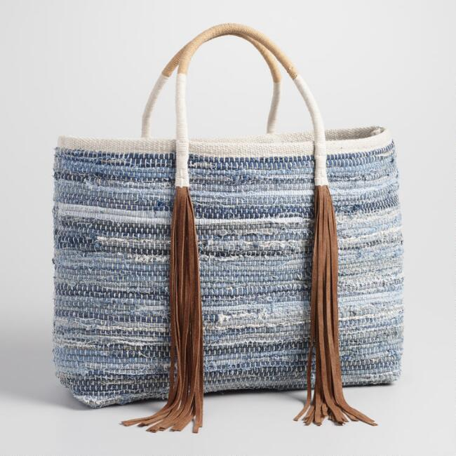 Chindi Denim Tote with Suede Tassels