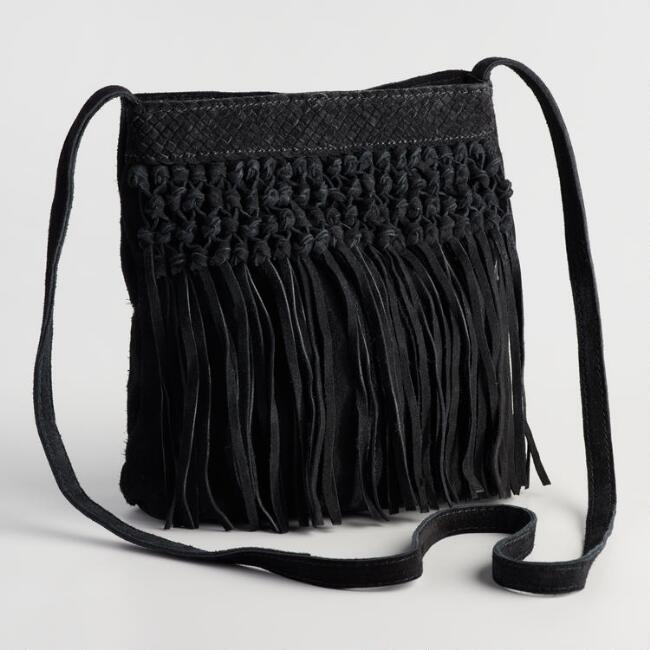 Black Suede Crossbody Bag