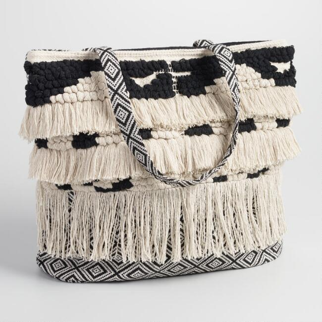 Black and White Woven Tote with Fringe
