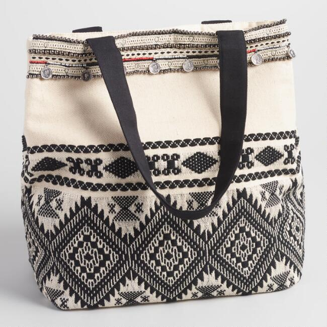 Black and White Bead Tote