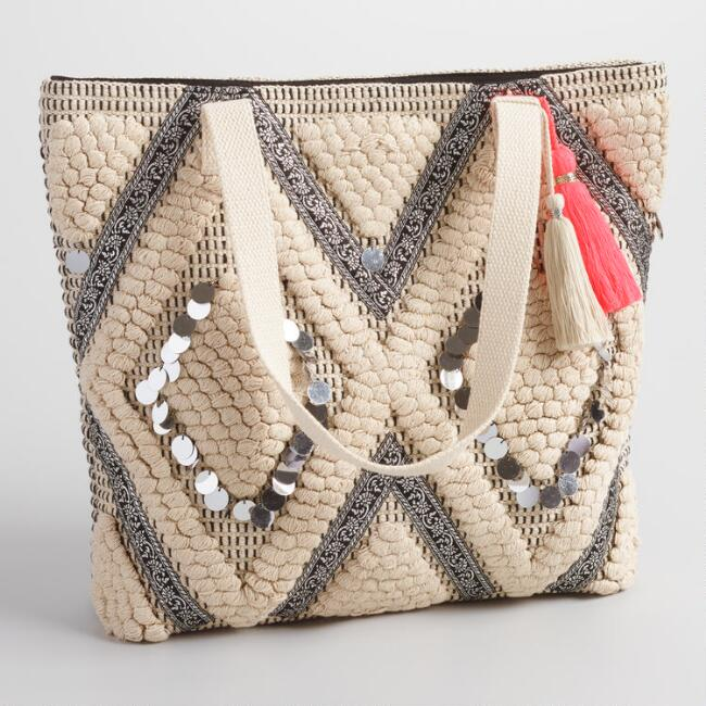 Cream Mirrored Tote