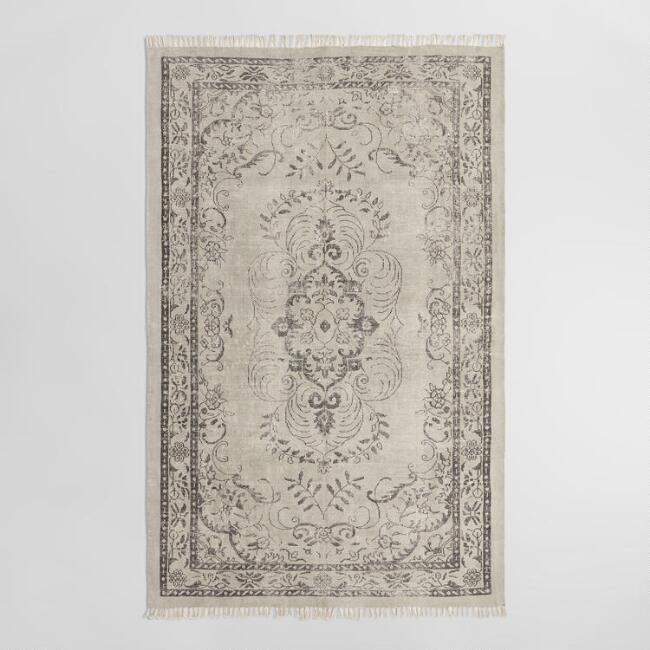 5'x8' Smoke Gray Woven Cotton Naomi Area Rug