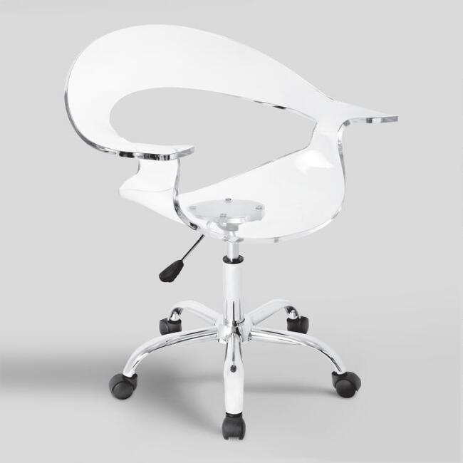 Clear Acrylic Swivel Bucket Office Chair