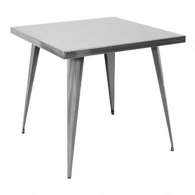Square Brushed Metal Cafe Talise Dining Table
