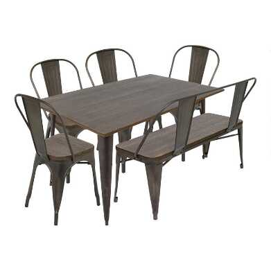 Antique Metal and Espresso Wood Arwen Dining Collection