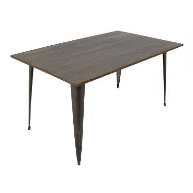 Antique Metal and Espresso Wood Arwen Dining Table
