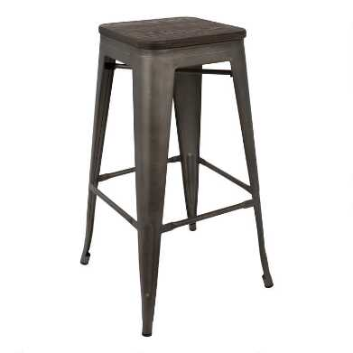 Antique Metal and Espresso Wood Arwen Barstools Set of 2