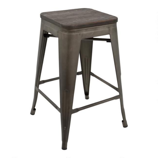 Metal and Wood Backless Arwen Counter Stools Set Of 2