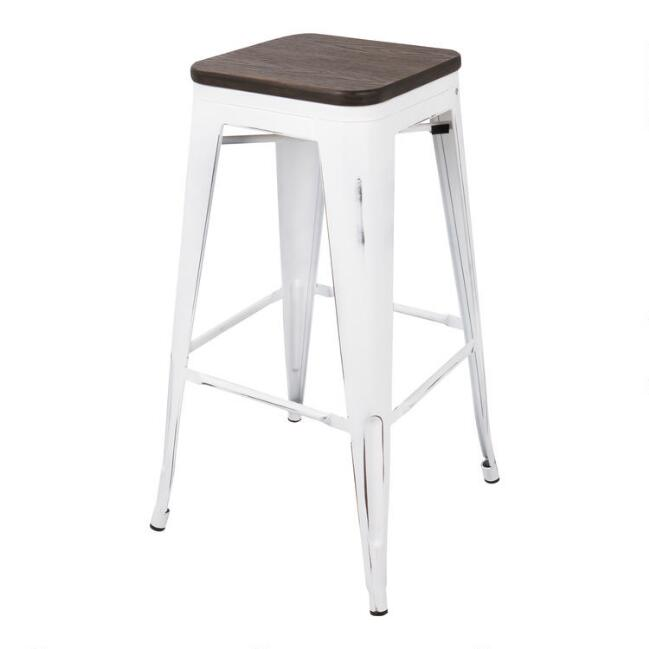 White and Espresso Backless Ridgeby Barstools Set of 2
