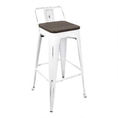 White and Espresso Low Back Ridgeby Barstools Set of 2