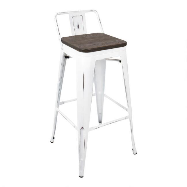 White Low Back Ridgeby Barstools Set of 2