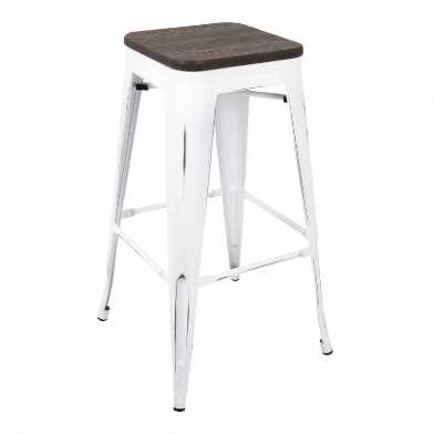 White and Espresso Backless Ridgeby Counter Stools Set of 2