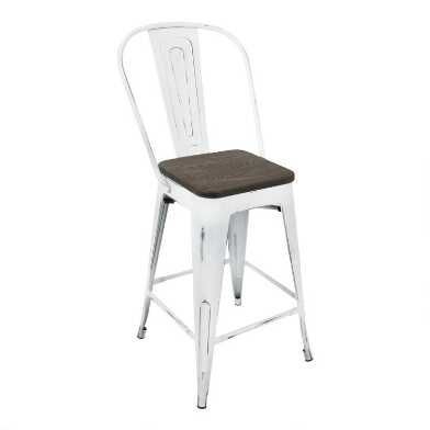 White and Espresso High Back Ridgeby Counter Stools Set of 2